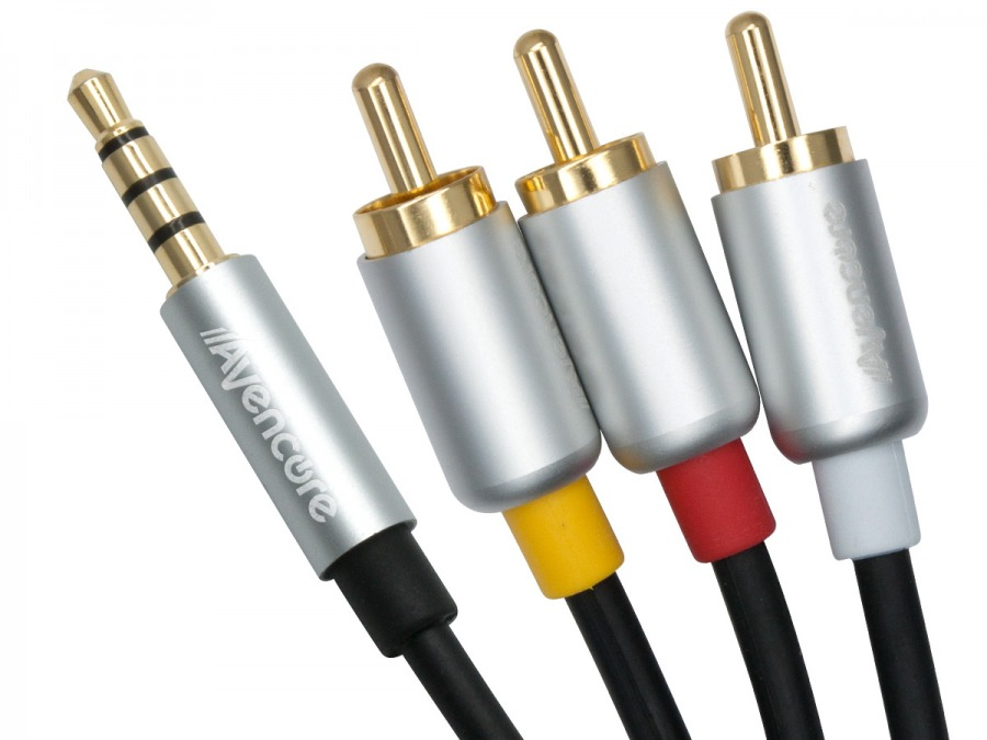 50cm Avencore Crystal Series 4-Pole TRRS 3.5mm to 3RCA Composite AV Cable (Photo )