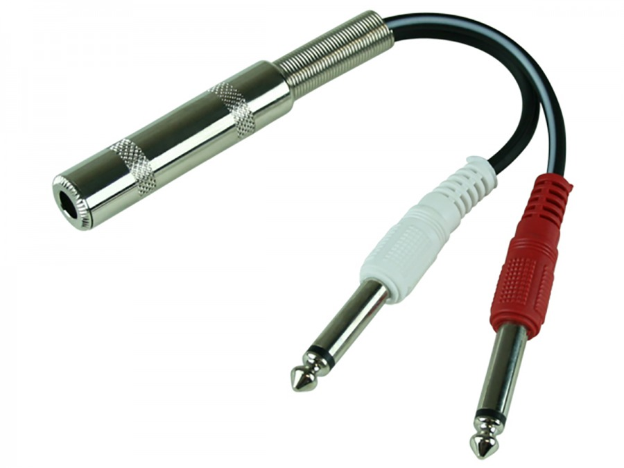 6.5mm Stereo Socket to 2x 6.5mm Mono Jack Adapter (Photo )