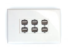 6x USB 2.0 Wall Plate (Type A Female)