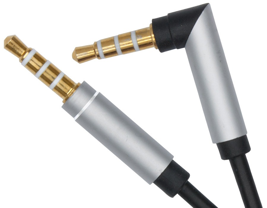 1m Right-Angle 4-Pole TRRS 3.5mm Cable (Male to Male)