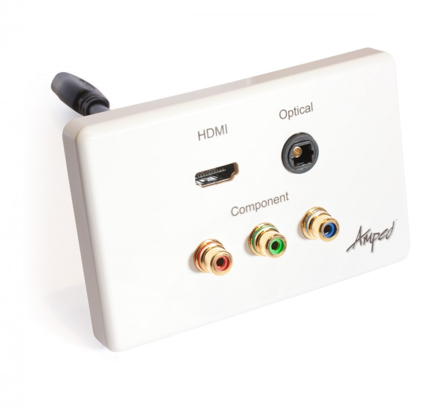 Amped Classic HDMI, TOSLINK & Component (White Wall Plate)