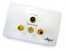 Amped Classic S-Video and 3x RCA Composite + L & R Audio (White Wall Plate)