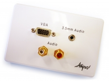 Amped Classic VGA, 3.5mm Audio & 2x RCA Audio (White Wall Plate)