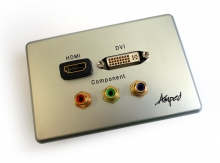 Amped Slimline HDMI, DVI & Component (Brushed Aluminium Wall Plate) (Photo )