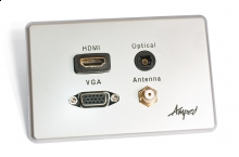 Amped Slimline HDMI, TOSLINK, VGA & F-Type Antenna (Brushed Aluminium Wall Plate)