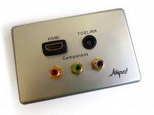 Amped Slimline HDMI, TOSLINK & Component (Brushed Aluminium Wall Plate) (Photo )