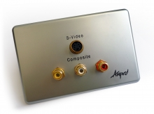 Amped Slimline S-Video and 3x RCA Composite + L & R Audio (Brushed Aluminium Wall Plate) (Photo )