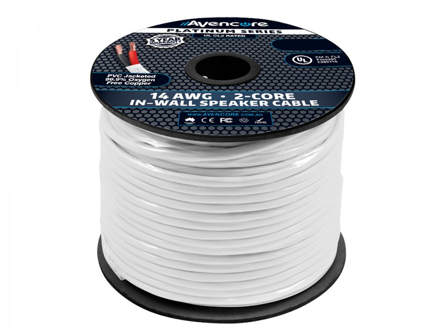 Avencore 100m Platinum Series In-Wall 14AWG 99.98% OFC Speaker Cable (2-Core) (Photo )