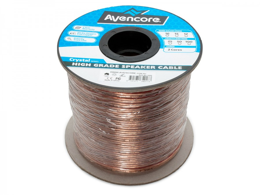 Avencore 100m Roll High-Grade 99.9% Oxygen Free 16 AWG 2-Core Speaker Cable (Photo )