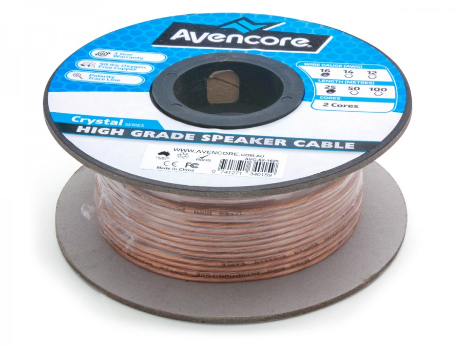 Avencore 25m Roll High-Grade 99.9% Oxygen Free 16 AWG 2-Core Speaker Cable (Photo )