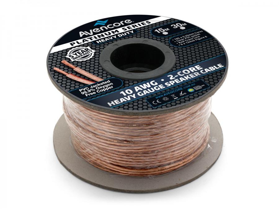 Avencore 30m Platinum Series 99.9% OFC Super Heavy Gauge 10AWG Speaker Cable (Photo )