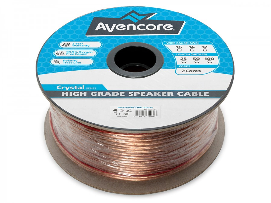 Avencore 50m Roll High-Grade 99.9% Oxygen Free 16 AWG 2-Core Speaker Cable (Photo )