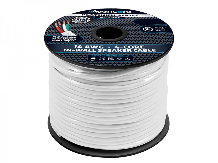 Avencore 75m Platinum Series In-Wall 14AWG 99.98% OFC Speaker Cable (4-Core) (Photo )