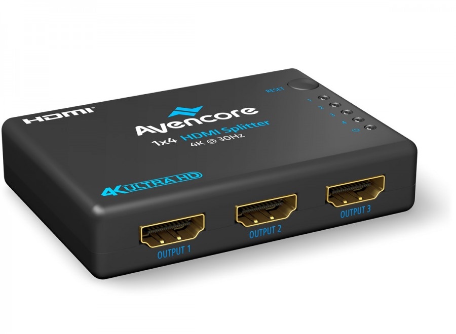 Avencore Halon Series Ultra HD 4K Powered 4-Way HDMI Splitter & Extender (Photo )