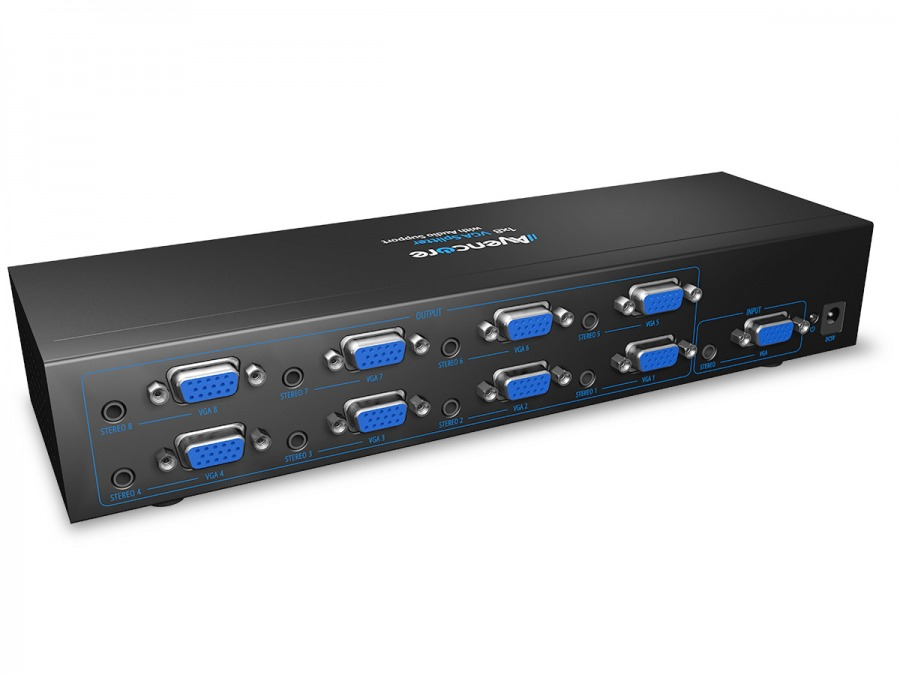 Avencore Powered 8-Way VGA Splitter with Audio (500MHz) (Photo )