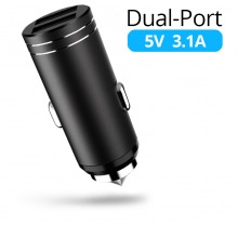Compact Dual USB Car Charging Adapter (2.1A & 1A)