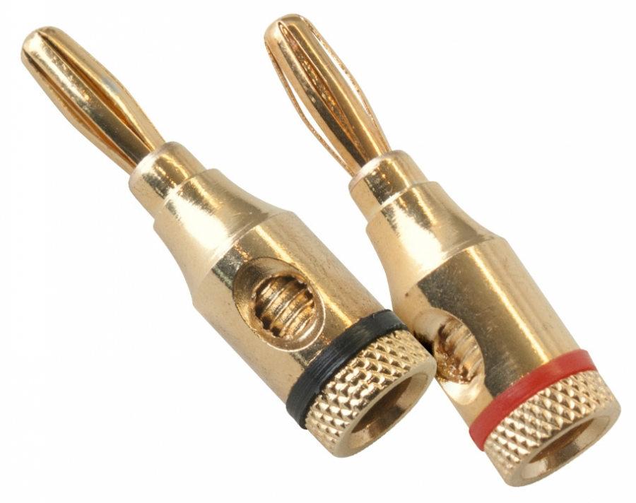 Compact Gold Plated Banana Plugs (Set of 2)