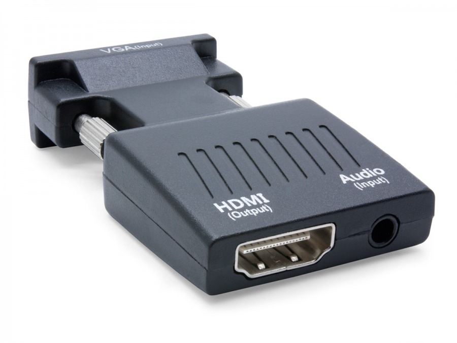 Compact VGA + Audio to HDMI Converter (In-line, USB Powered) (Photo )
