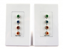 Component Video plus Coaxial Digital Audio over CAT5 Balun / Extender Wall Plate (Up to 100 Metres)