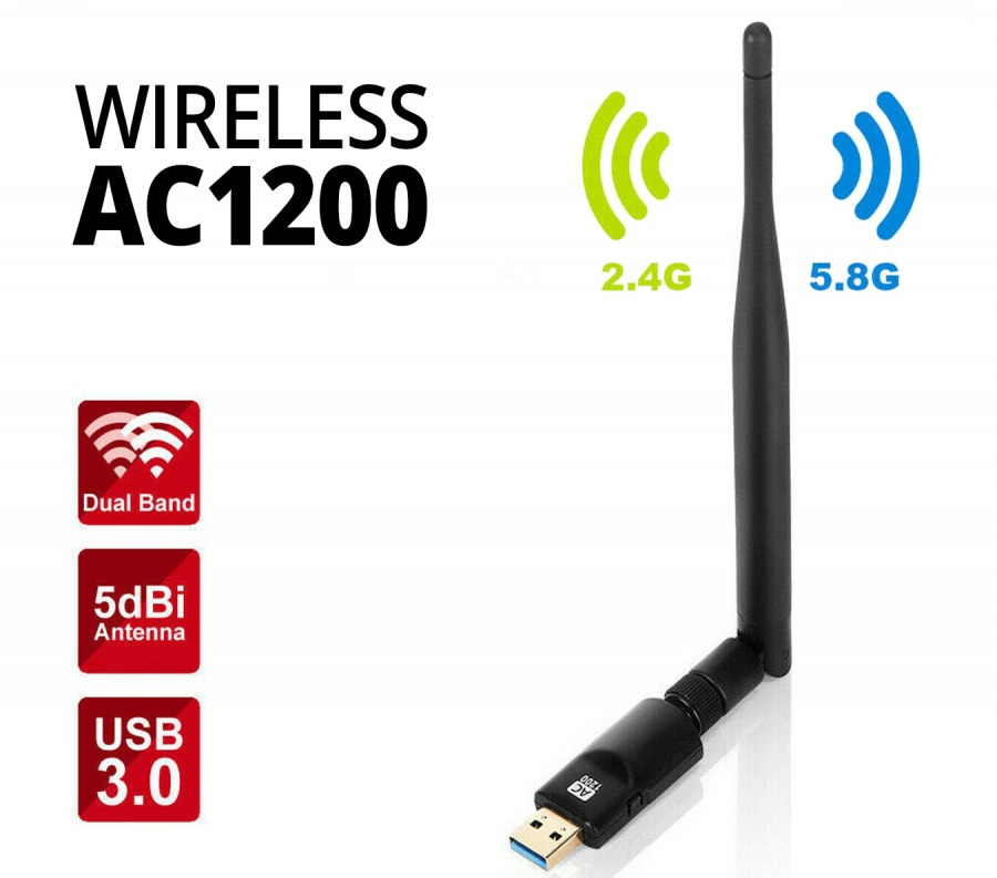 Dual-band Wireless-AC1200 USB WiFi Adapter (PC, Mac & Linux)