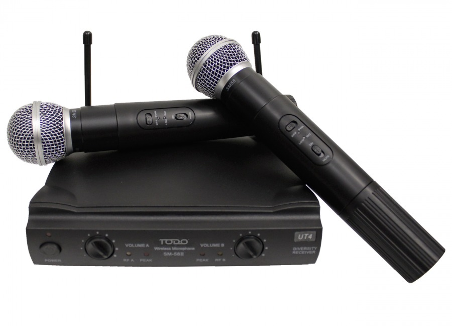 Dual-Channel UHF Wireless Microphones with Receiver for PA Systems + Hard Carry-Case