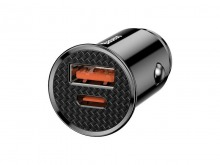 Dual-Port 30W USB Car Charger with QC4, 5A Fast Charging & USB-C