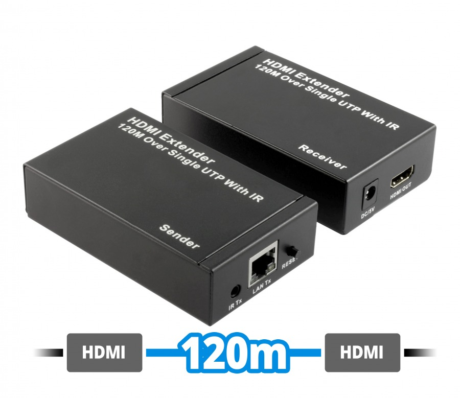 HDMI Extender Over Single CAT6 Network Cable (1080p up to 120m with IR Extender) (Photo )