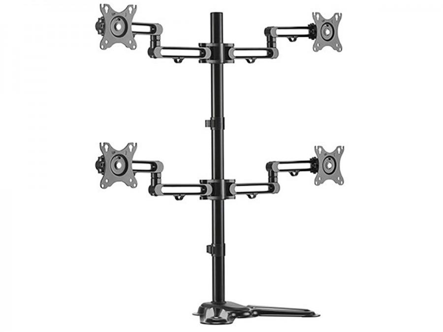 Heavy Duty Quad Monitor Desk Pole-Mount (4x 8kg)