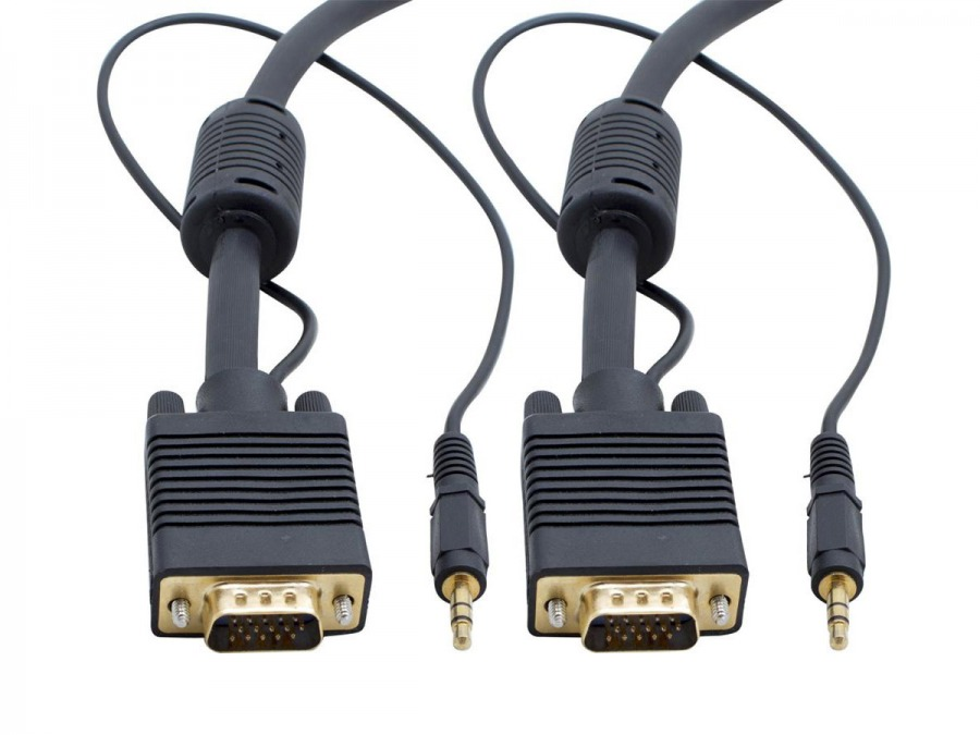 High-End 10M VGA + 3.5mm Stereo Audio Cable (Male to Male)