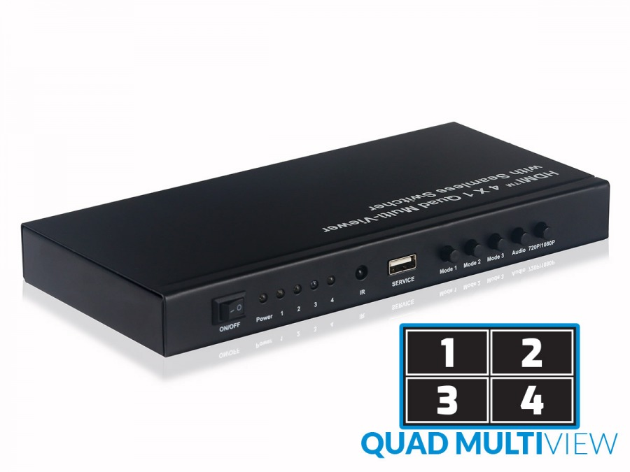 High-End 4-Port HDMI Quad Multi-Viewer with Seamless Switching (1080p 4x1 HDMI Switch) (Photo )
