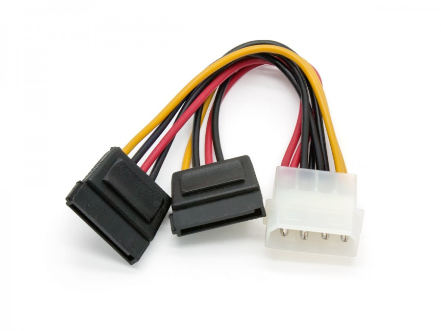 Internal 4 Pin Molex to SATA Power Splitter Y-Cable (SATA 2 / SATA 3 Compatible)