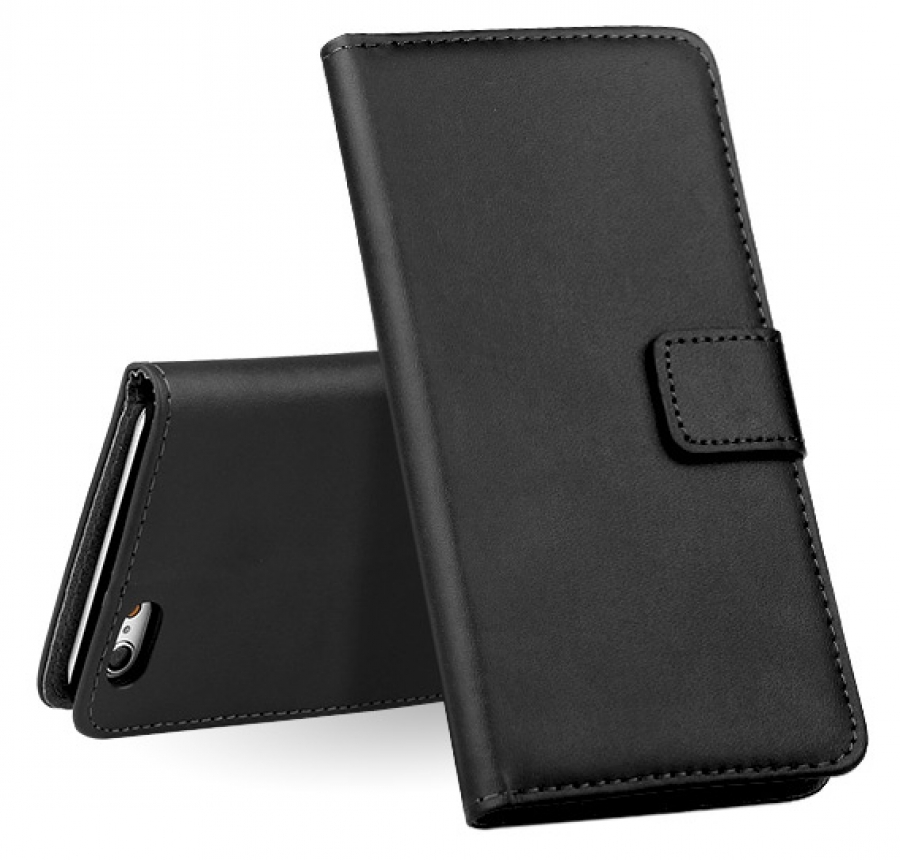 iPhone 6 Leather Wallet Case (Black) + FREE iPhone 6 Screen Protector