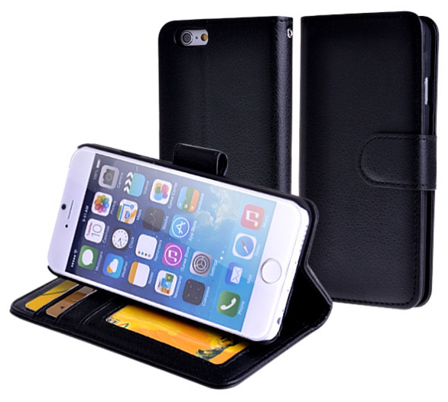 iPhone 6 Plus Faux-Leather Wallet Case (Black) + FREE iPhone 6 Plus Screen Protector