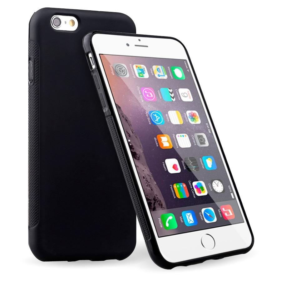 iPhone 6 Plus Soft TPU Gel Case (Black) + FREE iPhone 6 Plus Screen Protector (Photo )