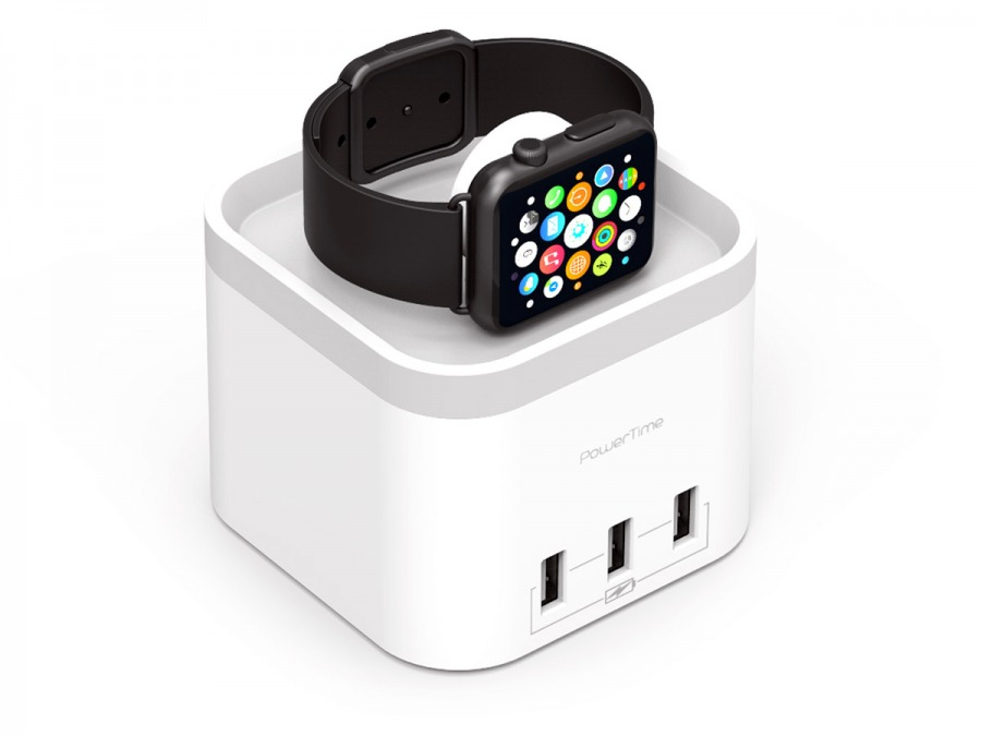 Power-Time Apple Watch Charging Cradle & 3-Port USB Charger