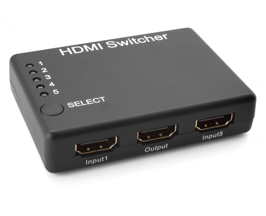 Powered 5-Port HDMI v1.3 Switch with Remote & IR Receiver (1080p/60Hz)