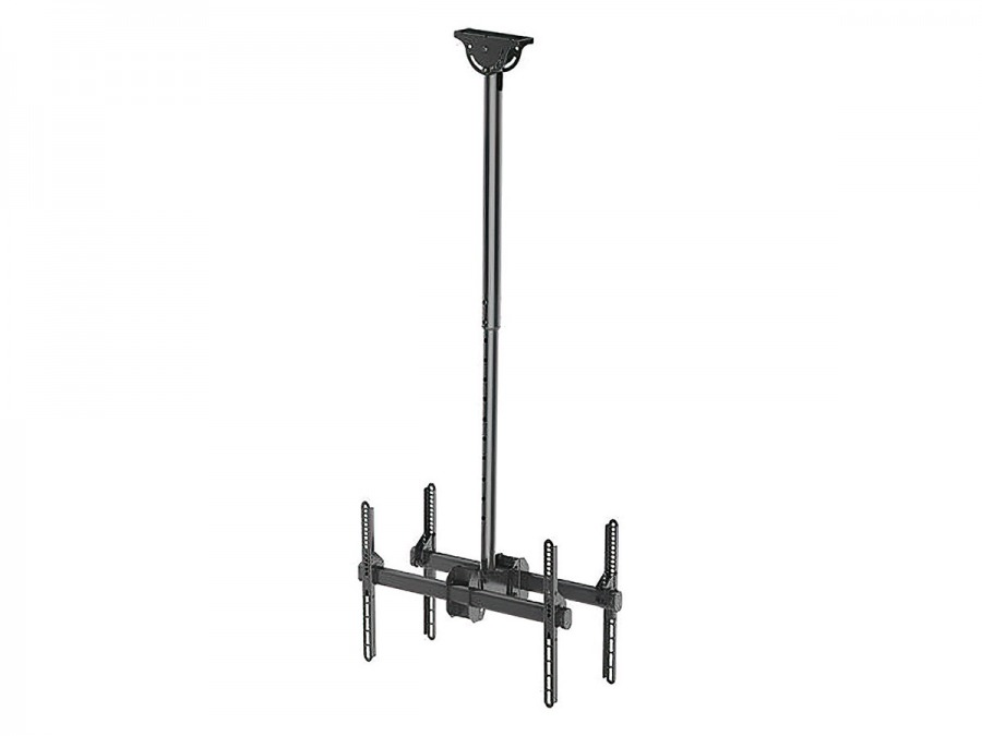 Premium Dual Screen TV Ceiling Mount Bracket - 45kg (Black)