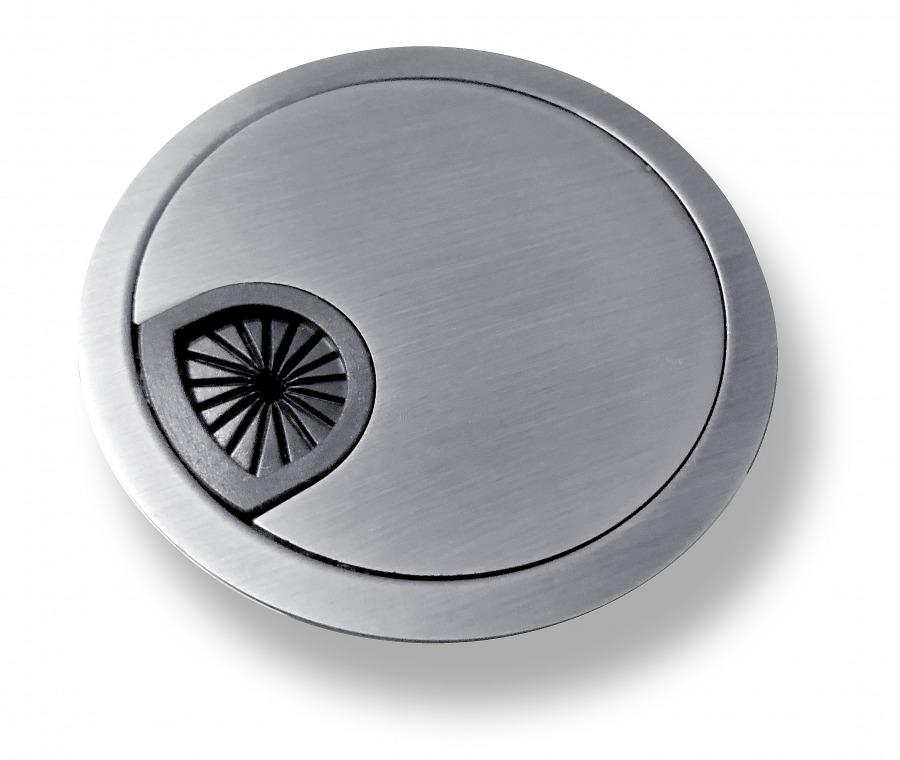 Premium Brushed Steel Finish Desk Grommet (50mm Zinc-Alloy) (Photo )