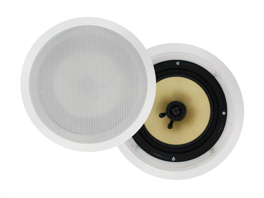"Round 6.5"" Pair of Wall / Ceiling Mounted Speakers - 100w Kevlar Drivers"