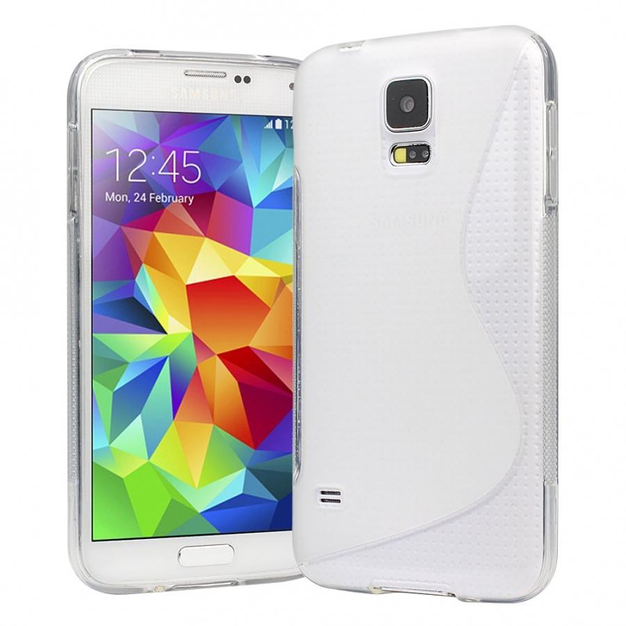 Samsung Galaxy S5 Soft TPU Gel Cover (Clear) + FREE Screen Protector