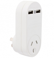 Single 240v Power Outlet + Two USB Charging Sockets