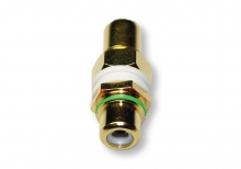 Single RCA Wall Plate Coupler, Green Indicator (Gold Plated)