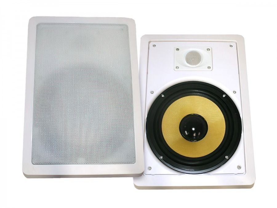 "Square 6.5"" Pair of 2-Way Wall / Ceiling Mounted Speakers - 100w Kevlar Drivers"