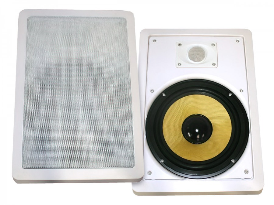 "Square 8"" Pair of 2-Way Wall / Ceiling Mounted Speakers - 150w Kevlar Drivers"