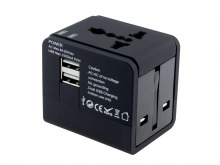 Universal Travel Mains Socket Adapter with Dual USB Charger