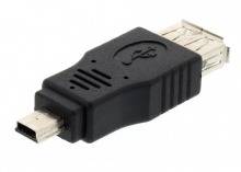 View Product: USB Adaptor Type-A Female to Mini-B 5-Pin Male