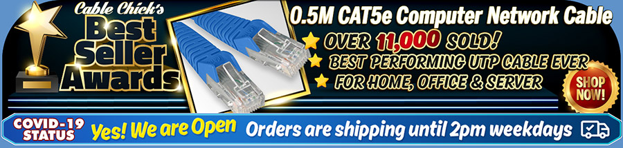 Cable Chick's Best Sellers ensure you'll receive quality, with over 11,000 of these CAT5e patch cables sold!