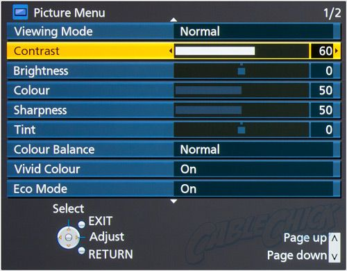 Panasonic Calibration Menu